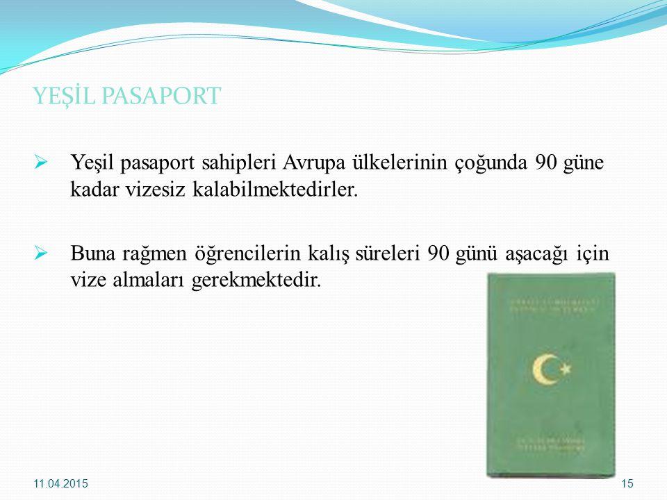 YEŞİL PASAPORT Yeşil pasaport sahipleri Avrupa ülkelerinin çoğunda 90 güne kadar vizesiz kalabilmektedirler.