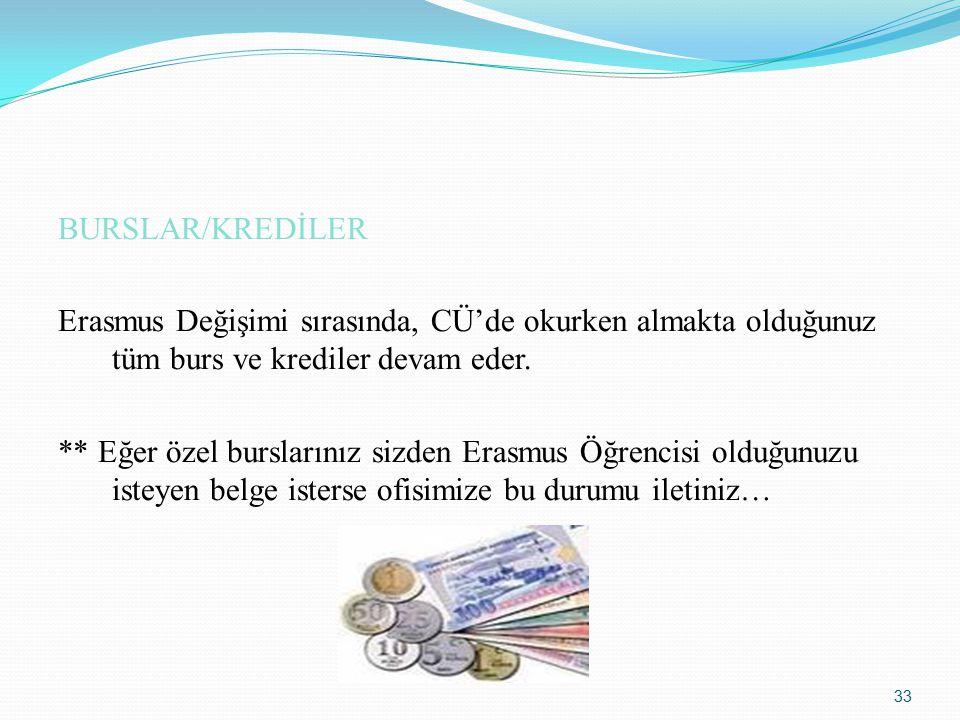 BURSLAR/KREDİLER Erasmus Değişimi sırasında, CÜ'de okurken almakta olduğunuz tüm burs ve krediler devam eder.