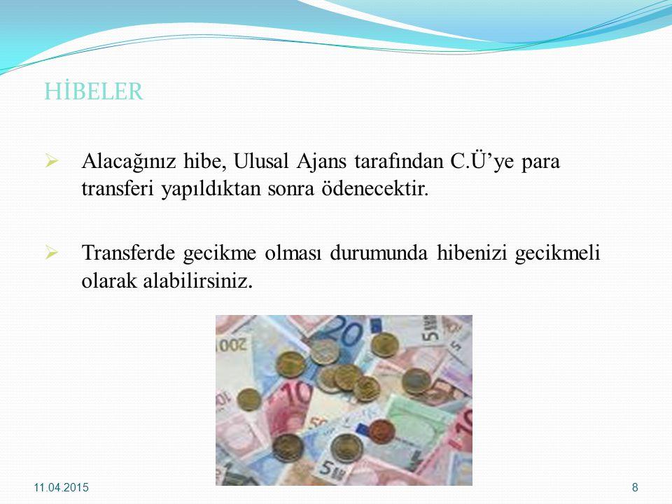 HİBELER Alacağınız hibe, Ulusal Ajans tarafından C.Ü'ye para transferi yapıldıktan sonra ödenecektir.