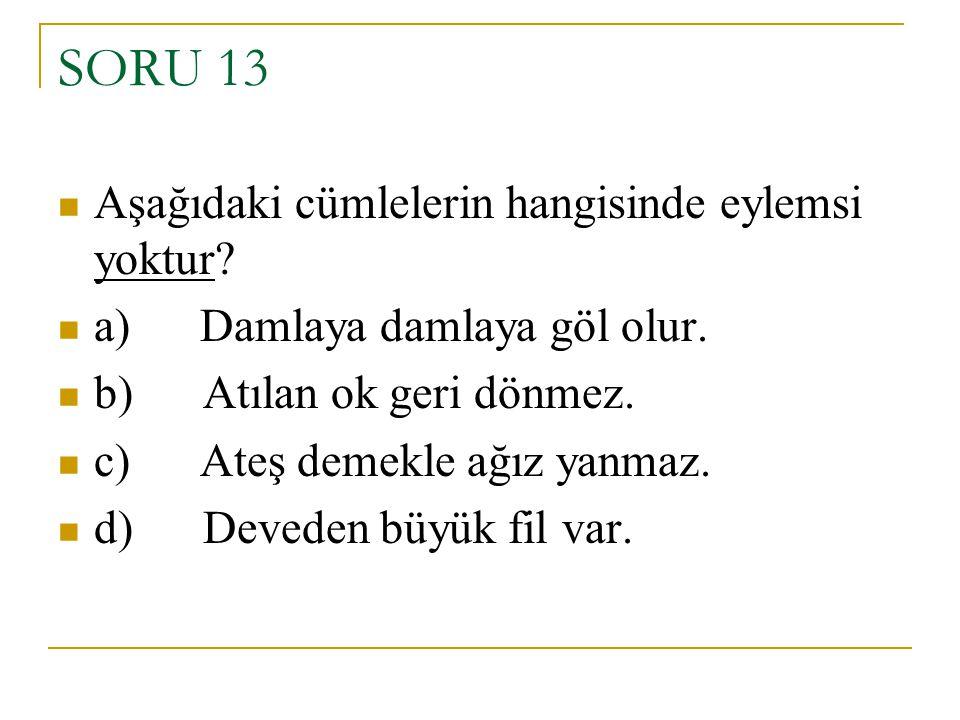 SORU 13 Aşağıdaki cümlelerin hangisinde eylemsi yoktur