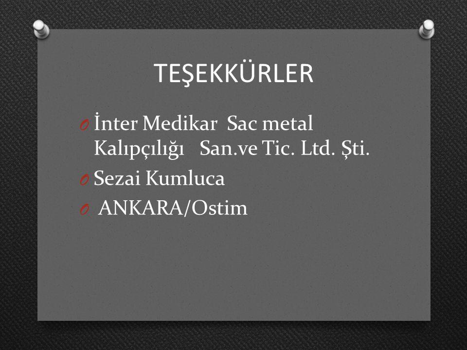 TEŞEKKÜRLER İnter Medikar Sac metal Kalıpçılığı San.ve Tic. Ltd. Şti.