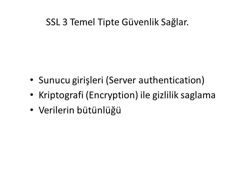SSL 3 Temel Tipte Güvenlik Sağlar.