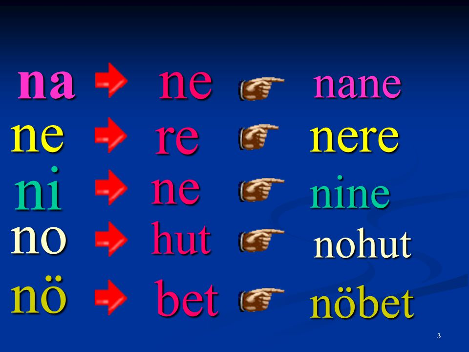 na ne nane ne re nere ni ne nine no hut nohut nö bet nöbet