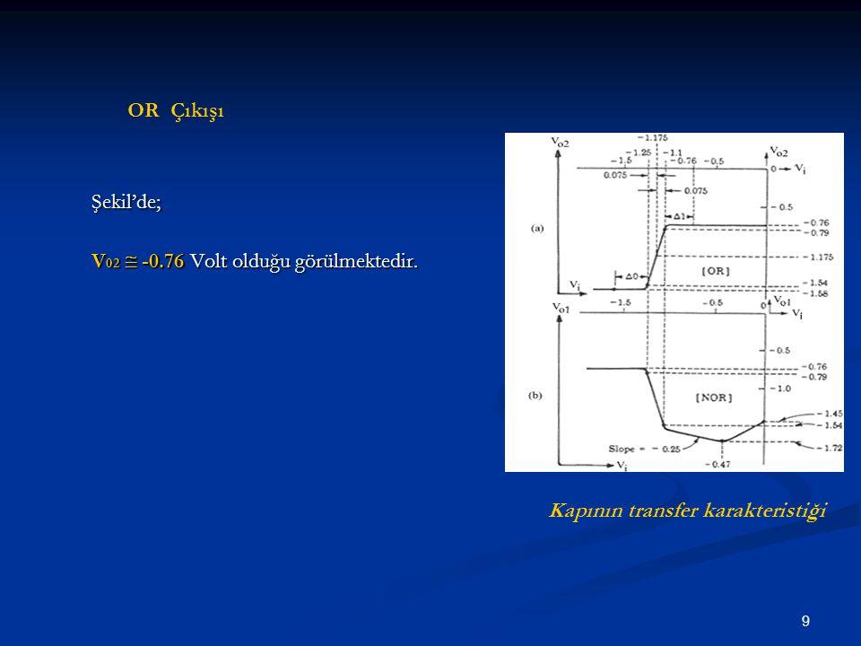 Şekil'de; OR Çıkışı V02  -0.76 Volt olduğu görülmektedir.