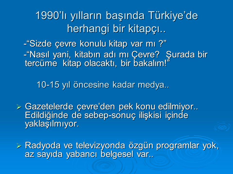 1990'lı yılların başında Türkiye'de herhangi bir kitapçı..