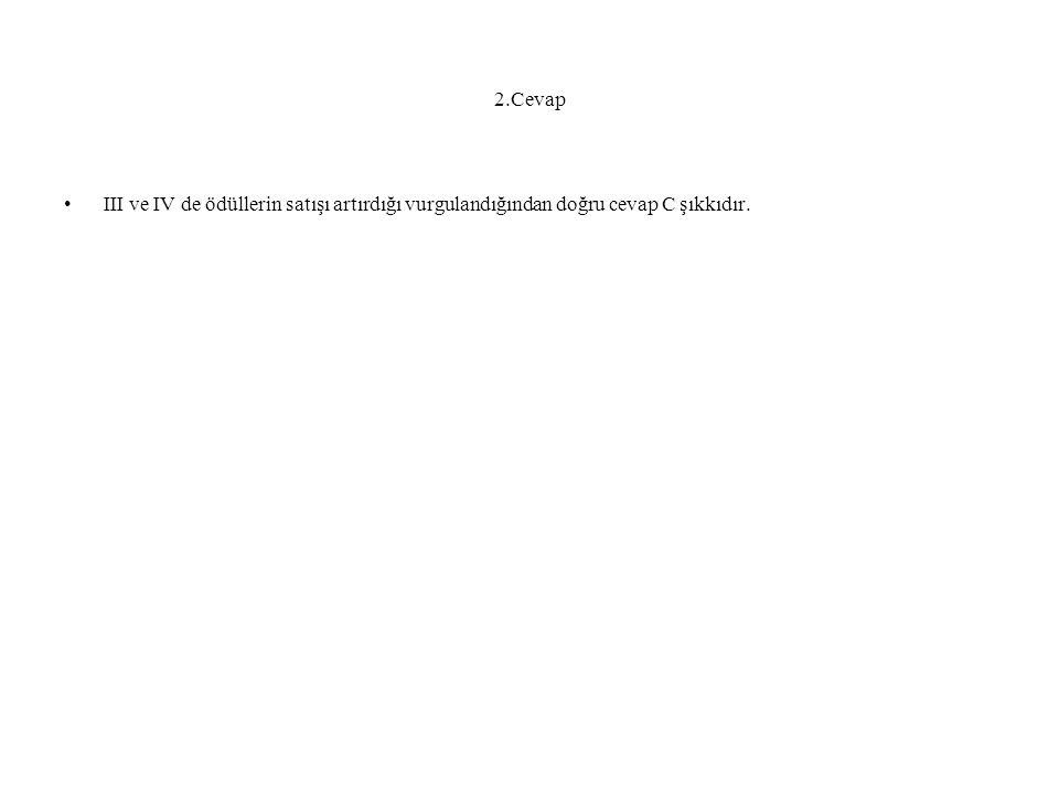 2.Cevap III ve IV de ödüllerin satışı artırdığı vurgulandığından doğru cevap C şıkkıdır.