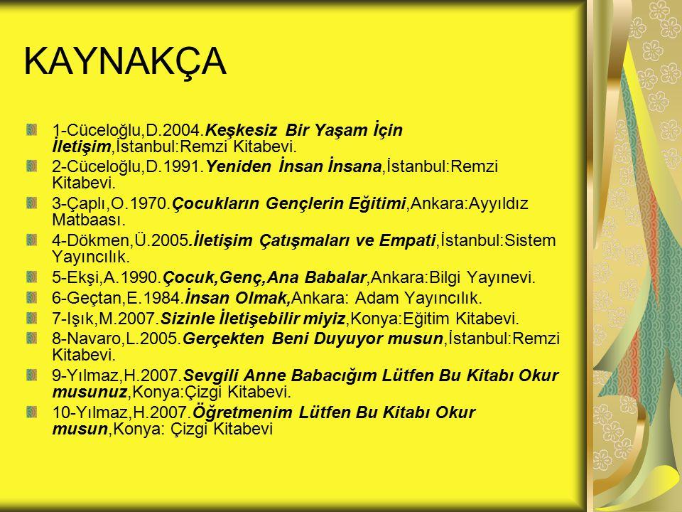 KAYNAKÇA 1-Cüceloğlu,D.2004.Keşkesiz Bir Yaşam İçin İletişim,İstanbul:Remzi Kitabevi.