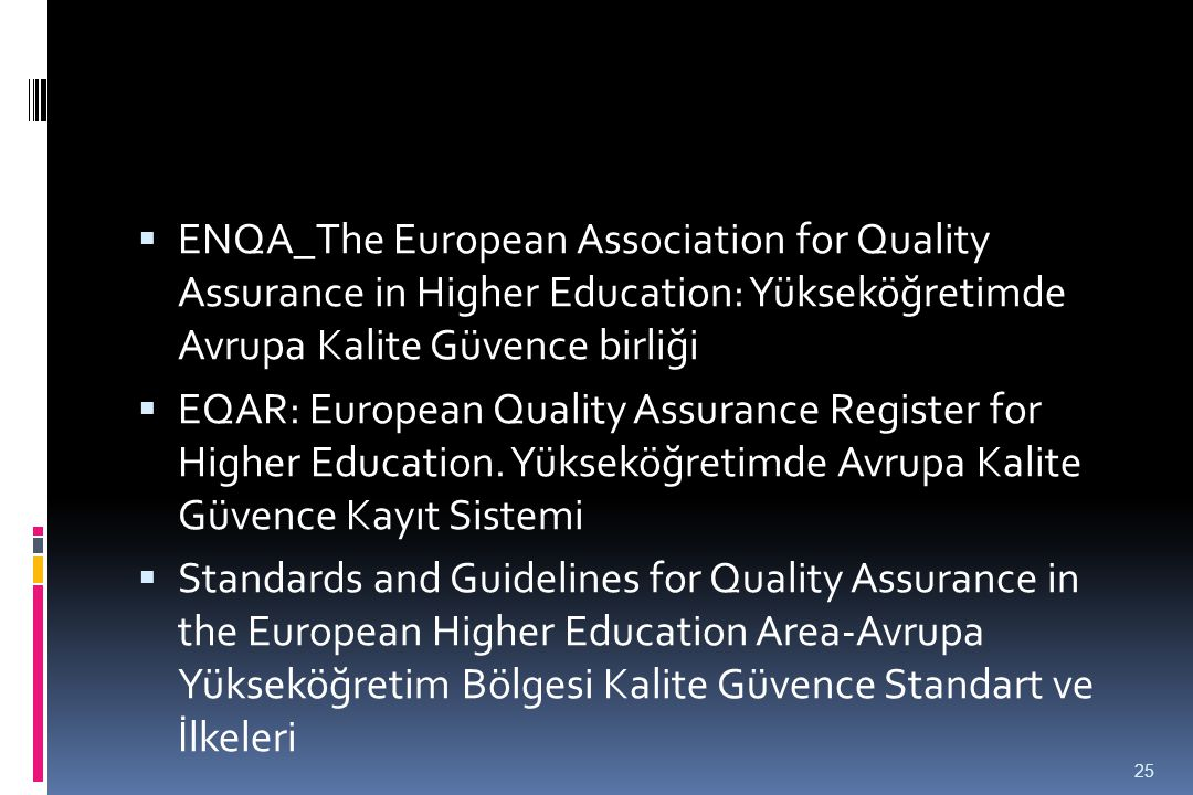 ENQA_The European Association for Quality Assurance in Higher Education: Yükseköğretimde Avrupa Kalite Güvence birliği