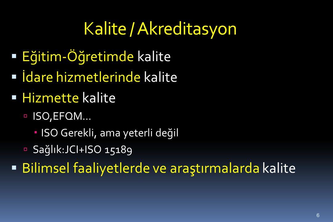 Kalite / Akreditasyon Eğitim-Öğretimde kalite