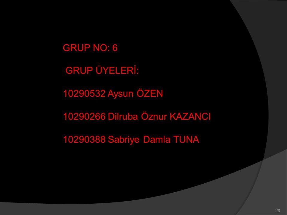 GRUP NO: 6 GRUP ÜYELERİ: 10290532 Aysun ÖZEN. 10290266 Dilruba Öznur KAZANCI.