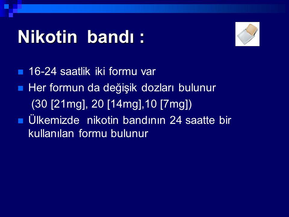 Nikotin bandı : 16-24 saatlik iki formu var