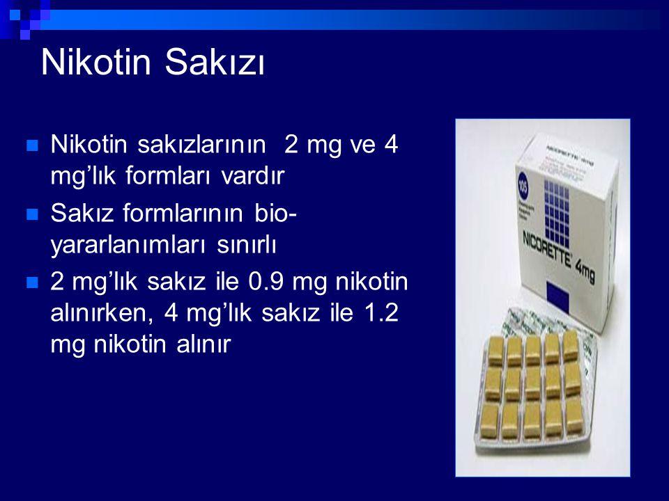 Nikotin Sakızı Nikotin sakızlarının 2 mg ve 4 mg'lık formları vardır