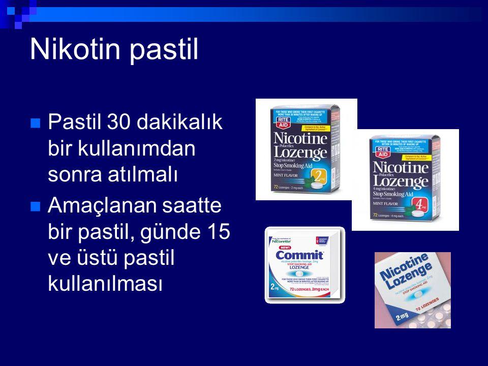 Nikotin pastil Pastil 30 dakikalık bir kullanımdan sonra atılmalı