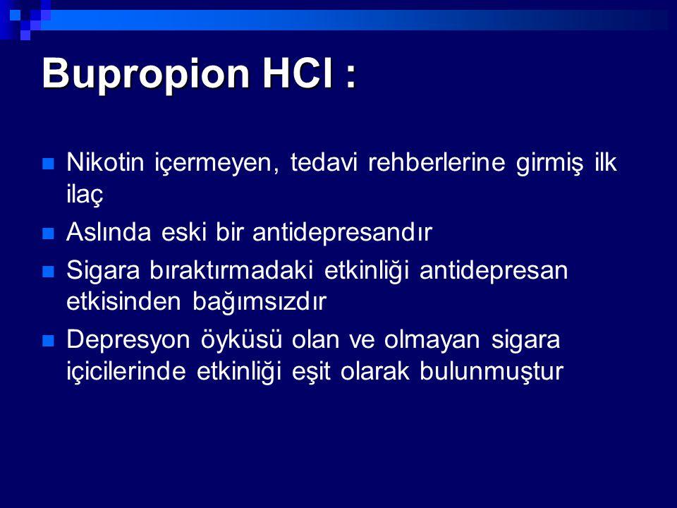 Bupropion HCl : Nikotin içermeyen, tedavi rehberlerine girmiş ilk ilaç
