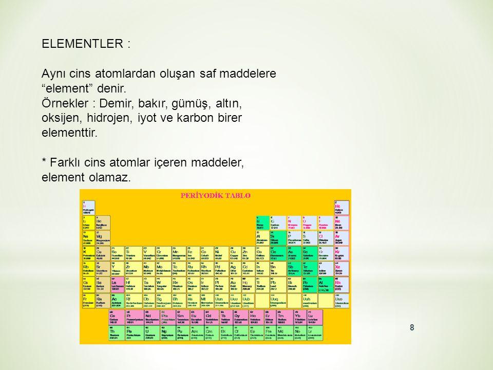 ELEMENTLER : Aynı cins atomlardan oluşan saf maddelere element denir.