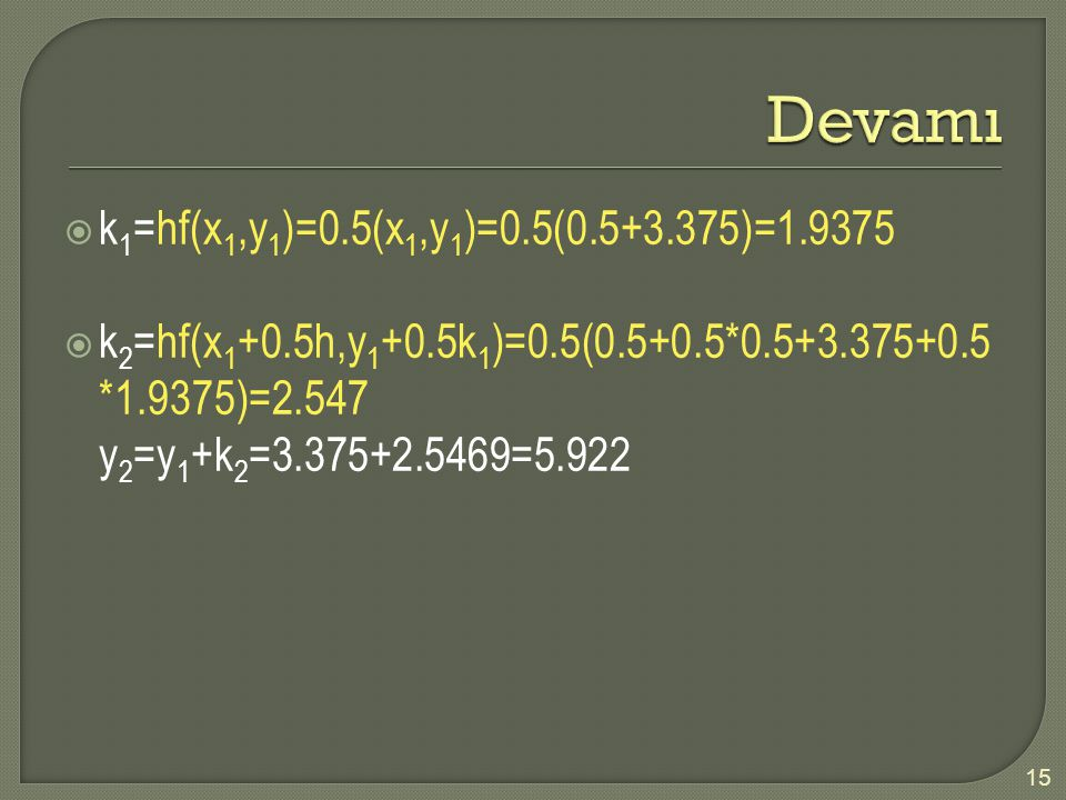 Devamı k1=hf(x1,y1)=0.5(x1,y1)=0.5(0.5+3.375)=1.9375