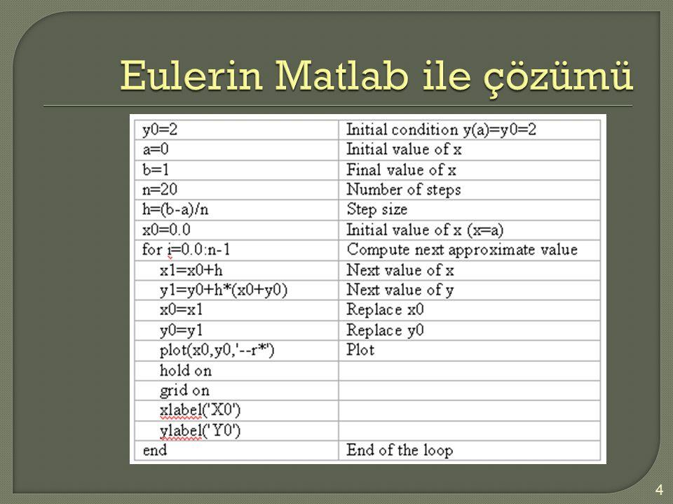 Eulerin Matlab ile çözümü