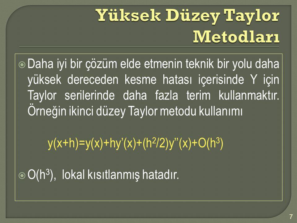 Yüksek Düzey Taylor Metodları