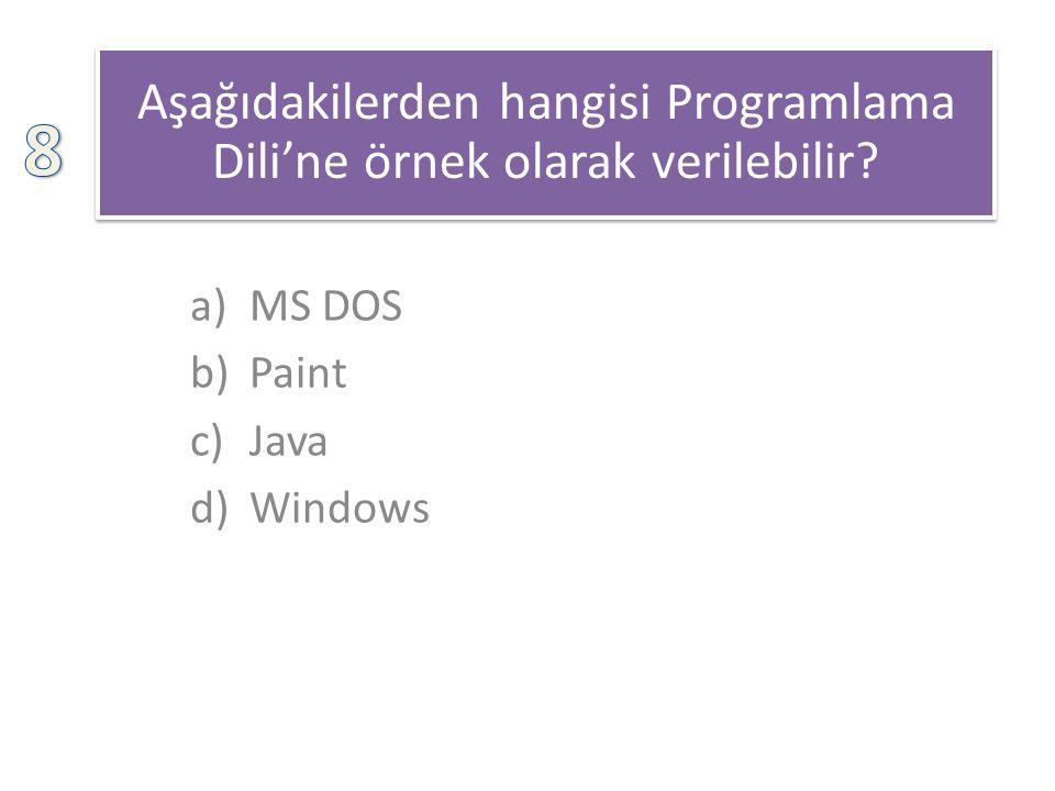 Aşağıdakilerden hangisi Programlama Dili'ne örnek olarak verilebilir