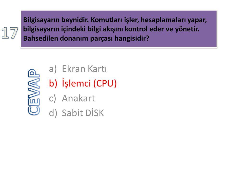 17 CEVAP Ekran Kartı İşlemci (CPU) Anakart Sabit DİSK