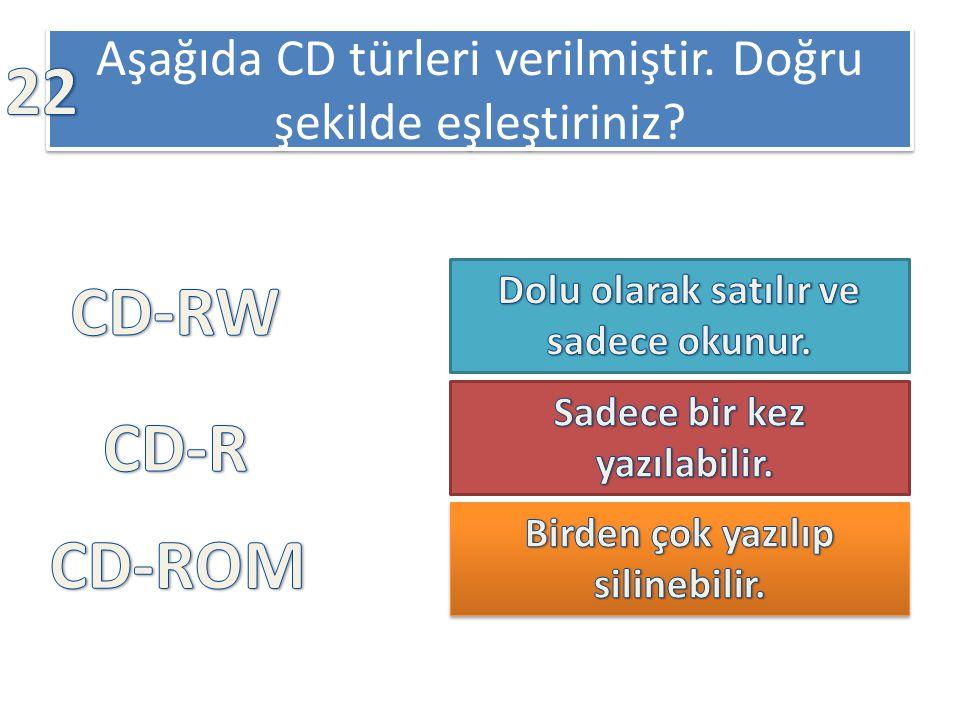 Aşağıda CD türleri verilmiştir. Doğru şekilde eşleştiriniz