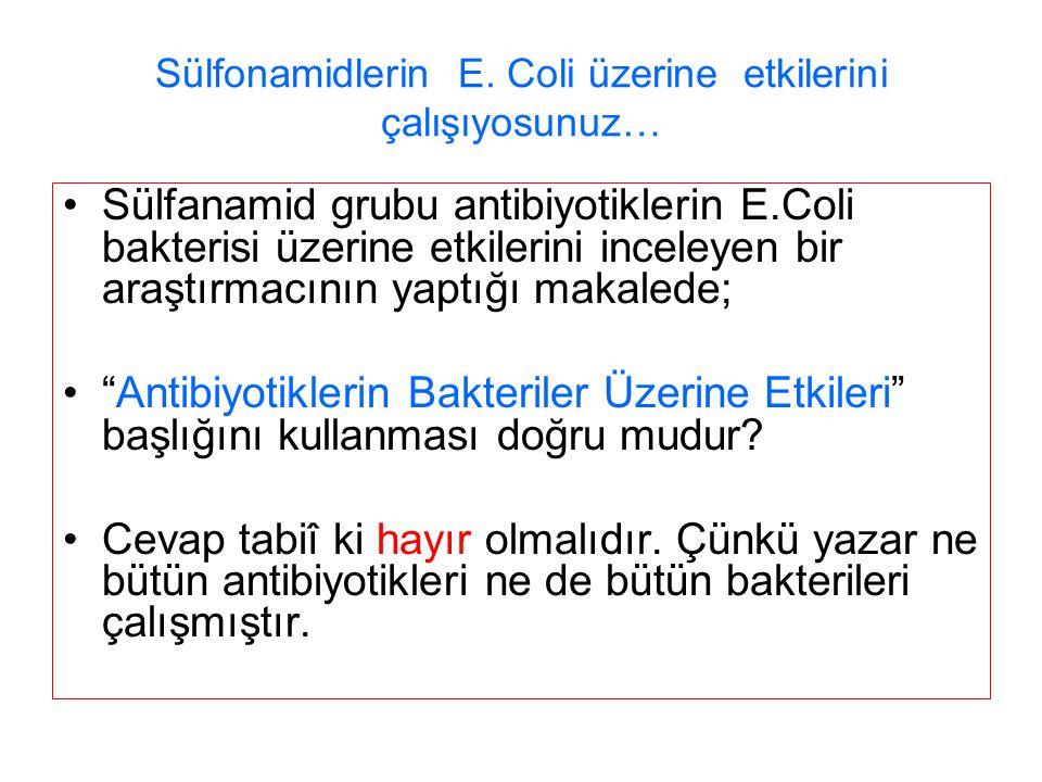 Sülfonamidlerin E. Coli üzerine etkilerini çalışıyosunuz…