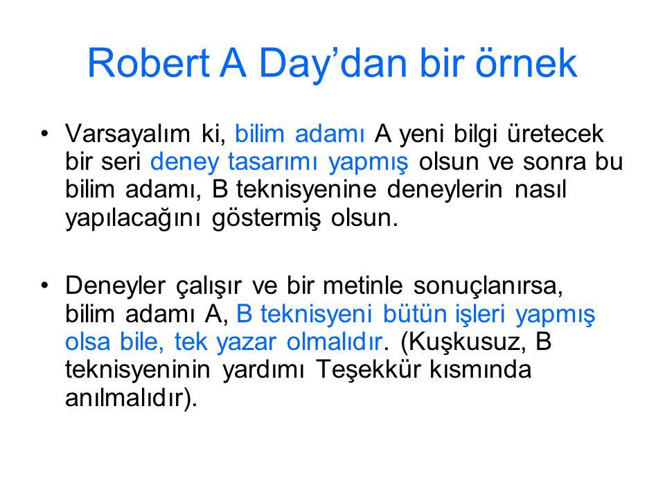 Robert A Day'dan bir örnek
