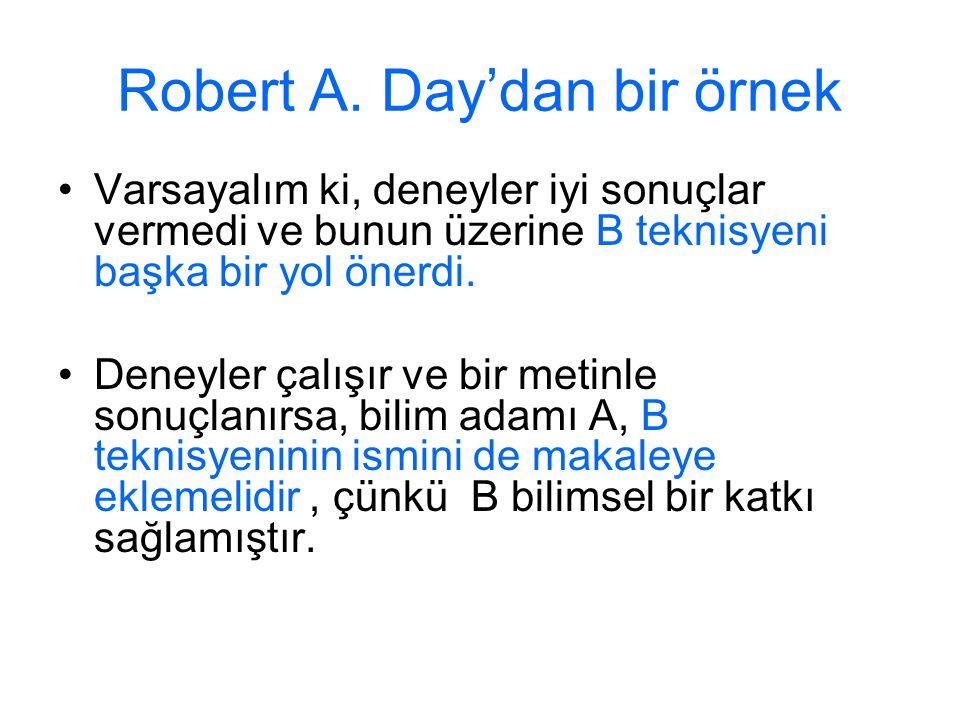 Robert A. Day'dan bir örnek