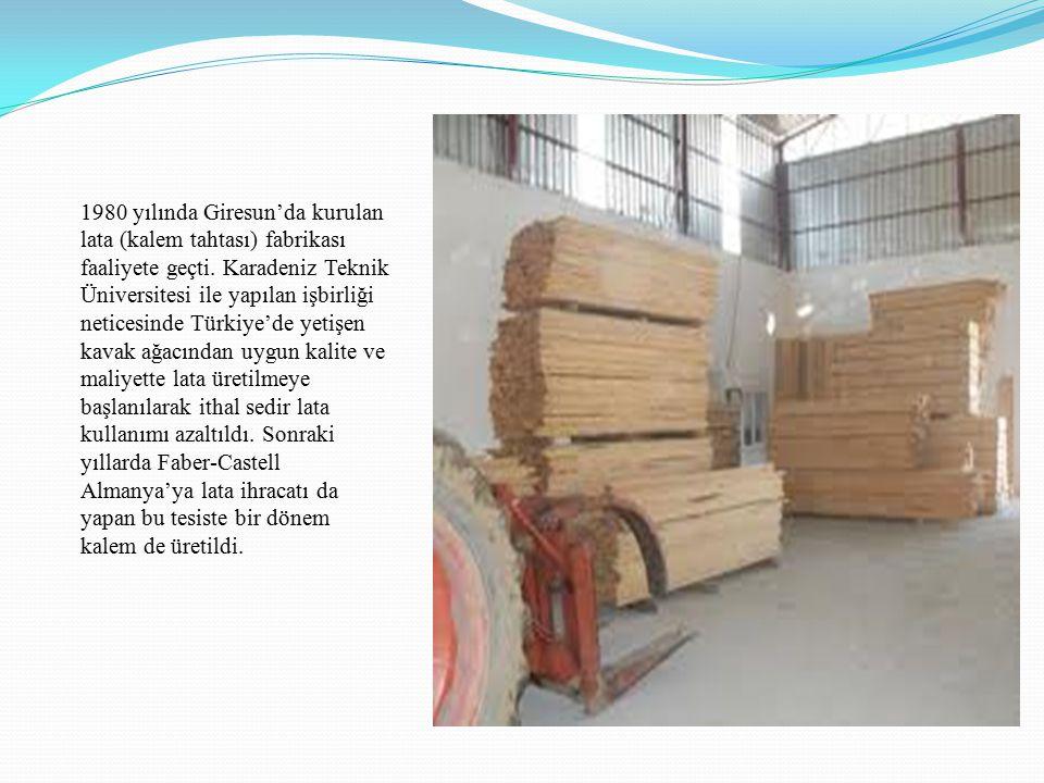 1980 yılında Giresun'da kurulan lata (kalem tahtası) fabrikası faaliyete geçti.