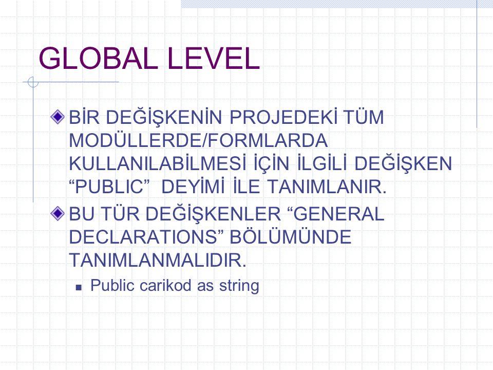 GLOBAL LEVEL BİR DEĞİŞKENİN PROJEDEKİ TÜM MODÜLLERDE/FORMLARDA KULLANILABİLMESİ İÇİN İLGİLİ DEĞİŞKEN PUBLIC DEYİMİ İLE TANIMLANIR.