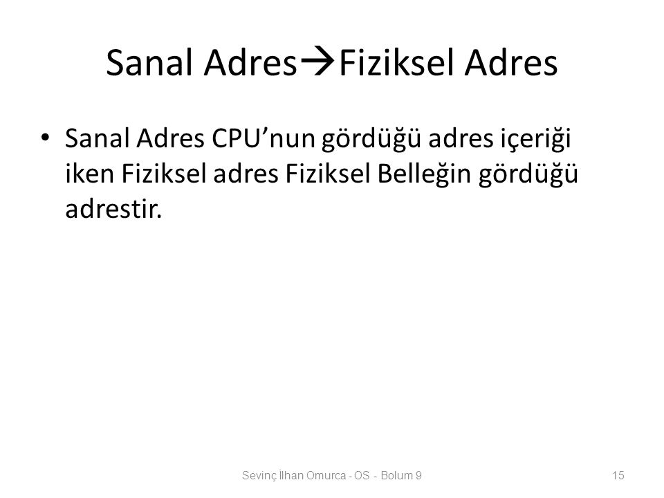 Sanal AdresFiziksel Adres
