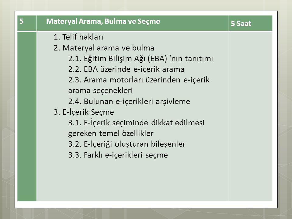 2. Materyal arama ve bulma 2.1. Eğitim Bilişim Ağı (EBA) 'nın tanıtımı