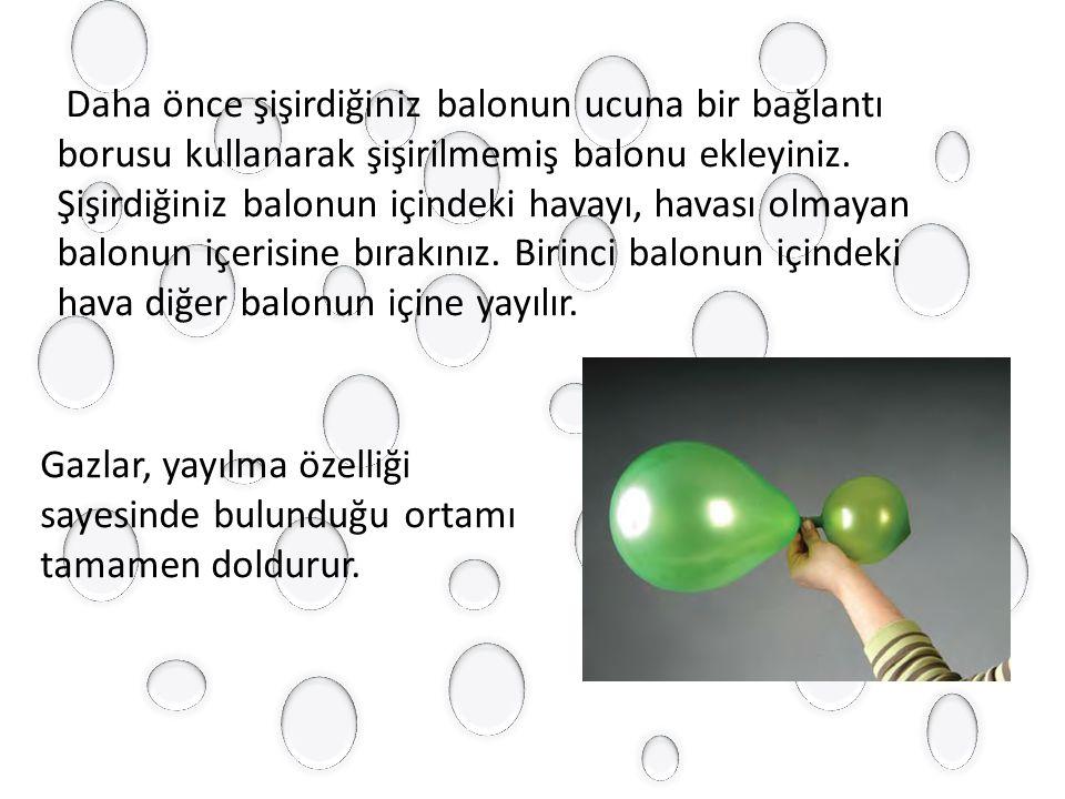 Daha önce şişirdiğiniz balonun ucuna bir bağlantı borusu kullanarak şişirilmemiş balonu ekleyiniz. Şişirdiğiniz balonun içindeki havayı, havası olmayan balonun içerisine bırakınız. Birinci balonun içindeki hava diğer balonun içine yayılır.