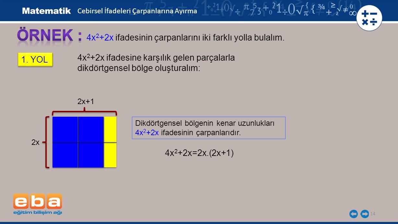 ÖRNEK : 4x2+2x ifadesinin çarpanlarını iki farklı yolla bulalım.