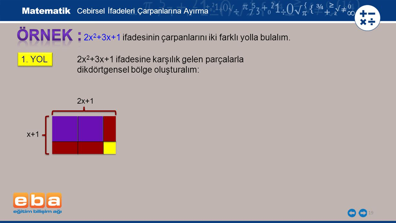 ÖRNEK : 2x2+3x+1 ifadesinin çarpanlarını iki farklı yolla bulalım.