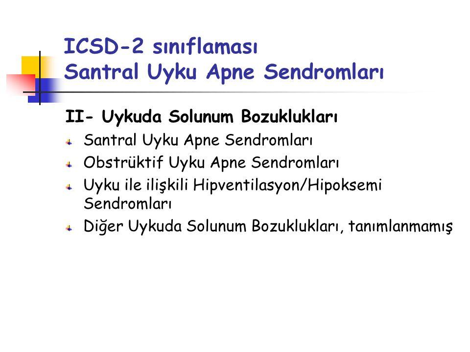 ICSD-2 sınıflaması Santral Uyku Apne Sendromları