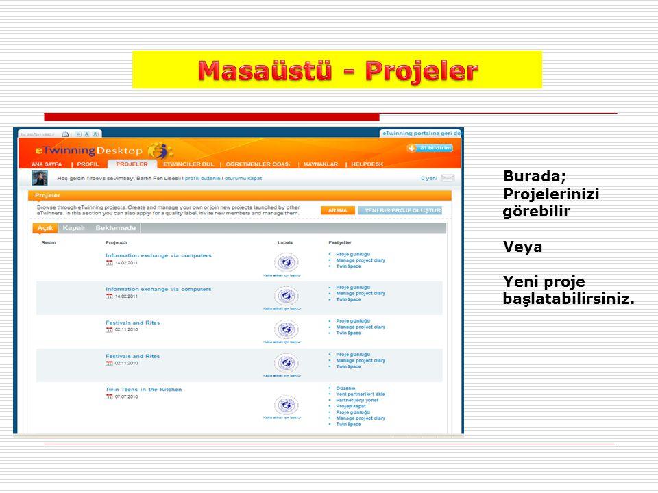 Masaüstü - Projeler Burada; Projelerinizi görebilir Veya