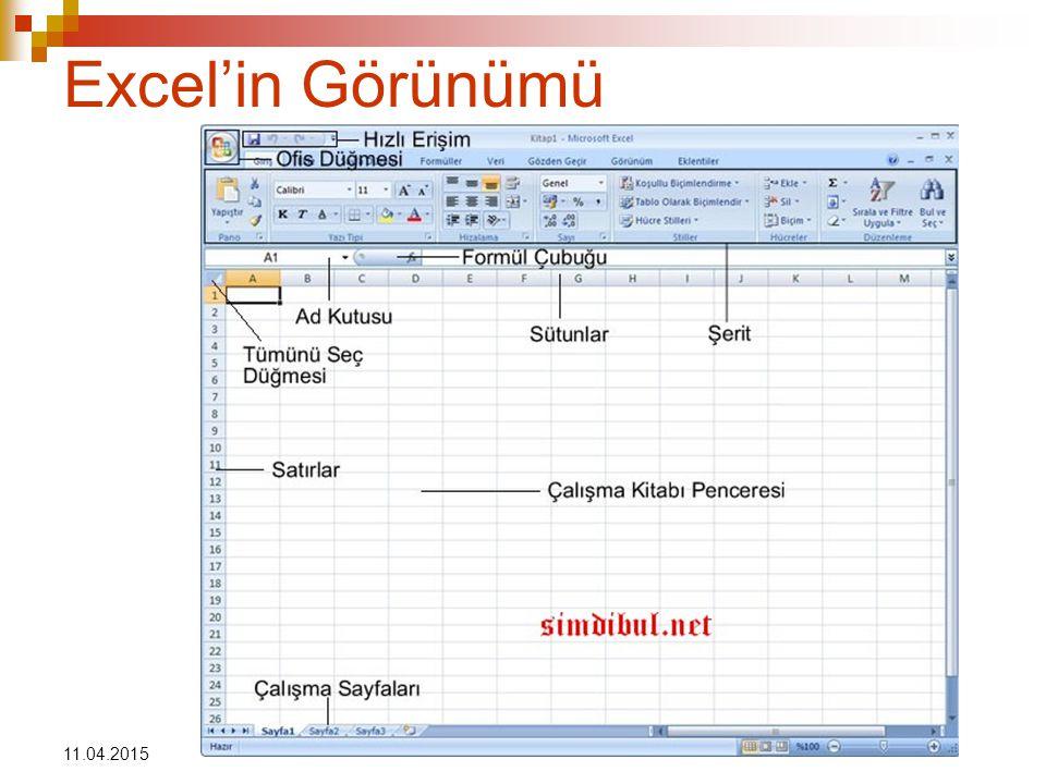 Excel'in Görünümü 11.04.2017