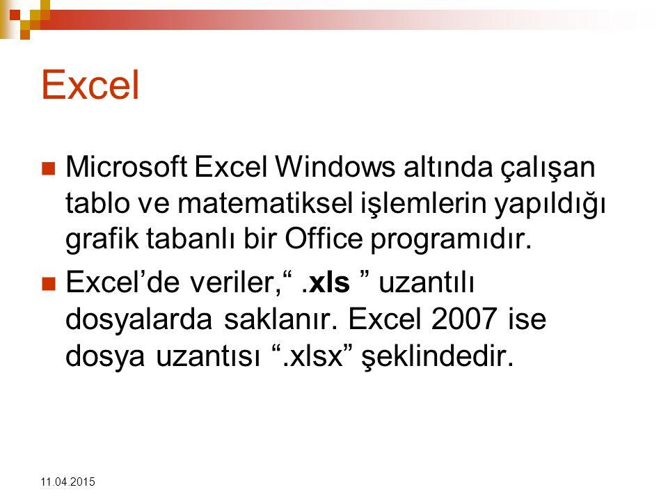 Excel Microsoft Excel Windows altında çalışan tablo ve matematiksel işlemlerin yapıldığı grafik tabanlı bir Office programıdır.