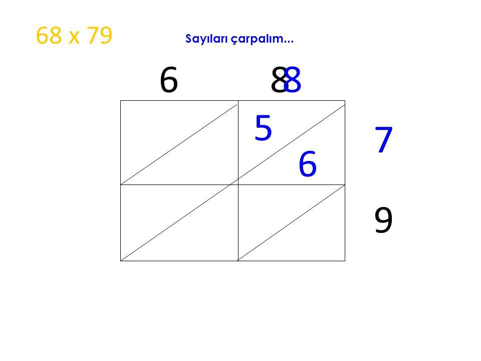 68 x 79 Sayıları çarpalım... 6 8 8 5 7 7 6 9
