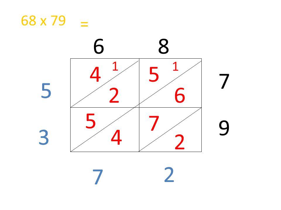 68 x 79 = 6 8 1 1 4 5 7 5 5 2 6 5 7 9 3 3 4 2 2 2 7 7