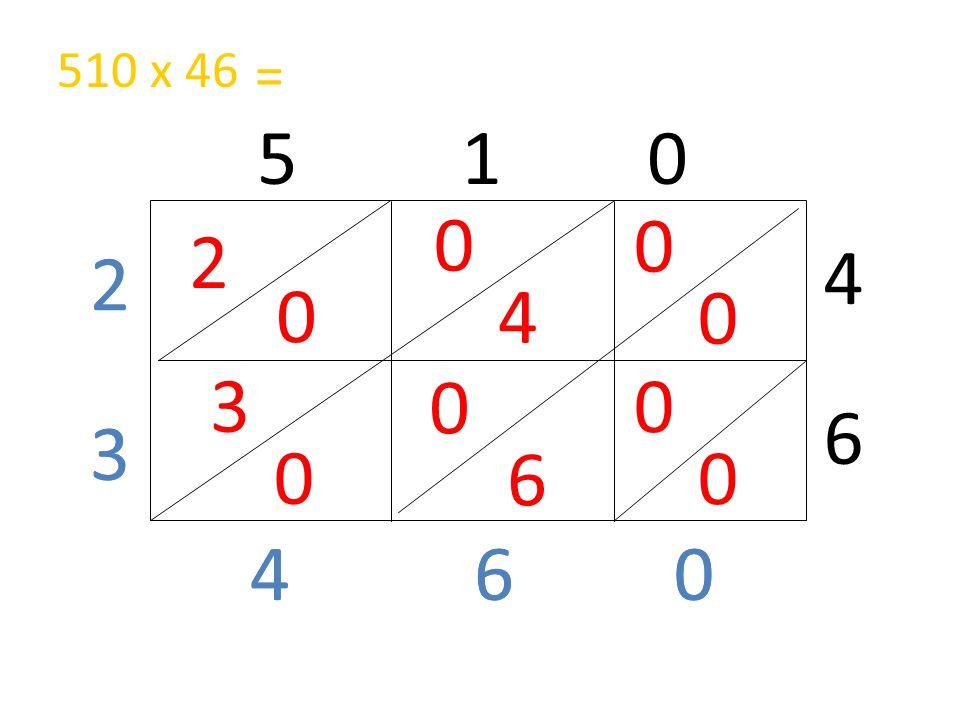 510 x 46 = 5 1 0 2 4 2 2 4 3 6 3 3 6 4 4 6 6