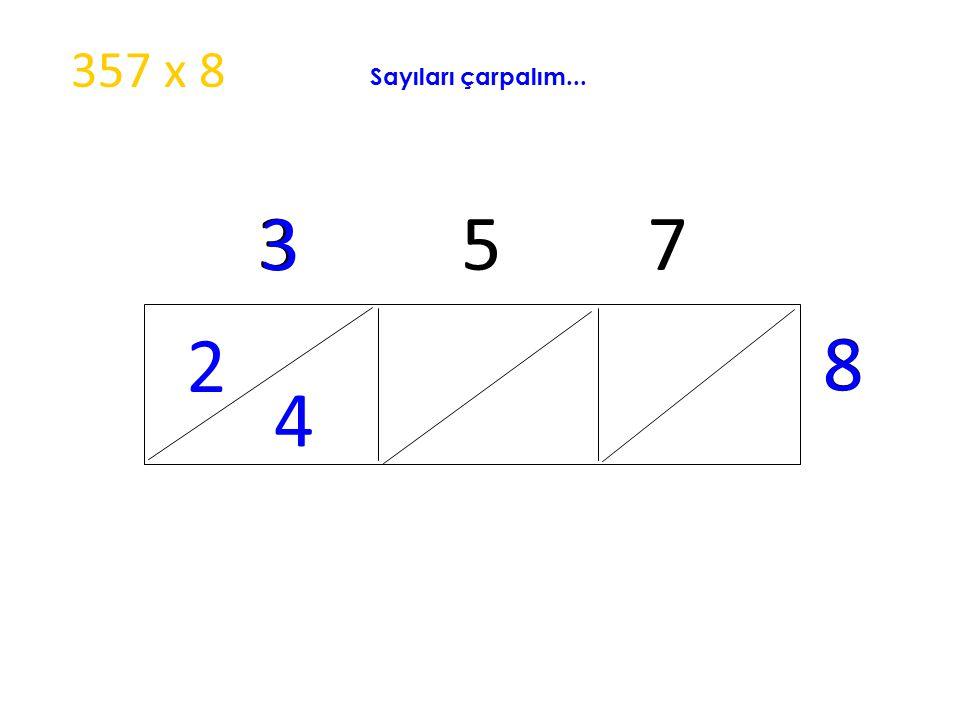 357 x 8 Sayıları çarpalım... 3 5 7 3 2 8 8 4