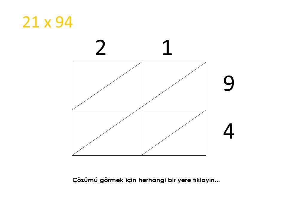 21 x 94 2 1 9 4 Çözümü görmek için herhangi bir yere tıklayın...