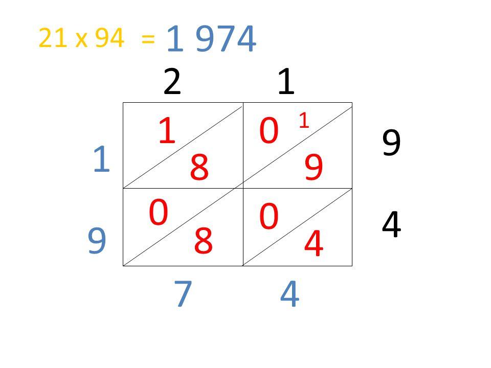 1 974 21 x 94 = 2 1 1 1 9 1 8 9 4 9 8 4 7 4