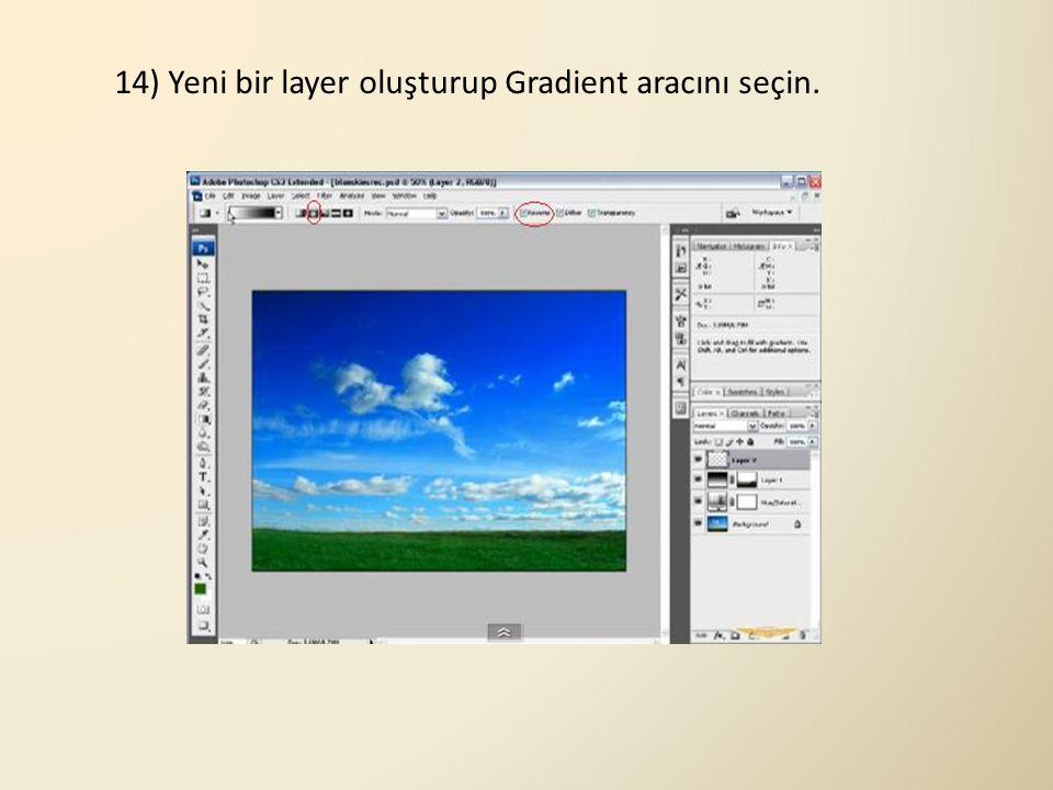 14) Yeni bir layer oluşturup Gradient aracını seçin.