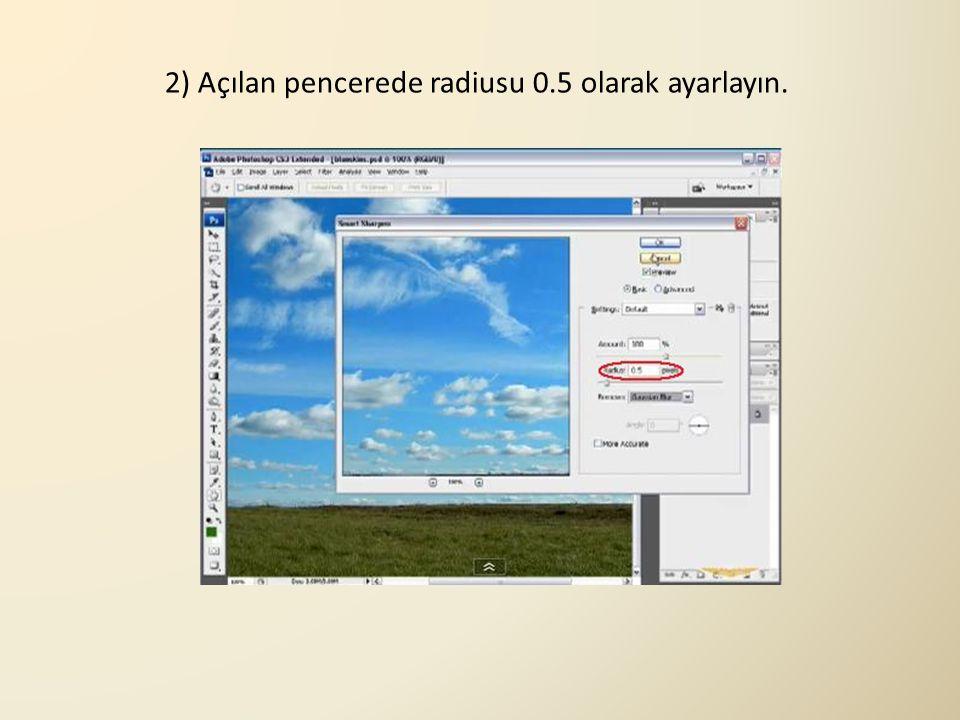 2) Açılan pencerede radiusu 0.5 olarak ayarlayın.