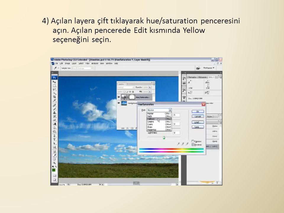 4) Açılan layera çift tıklayarak hue/saturation penceresini açın