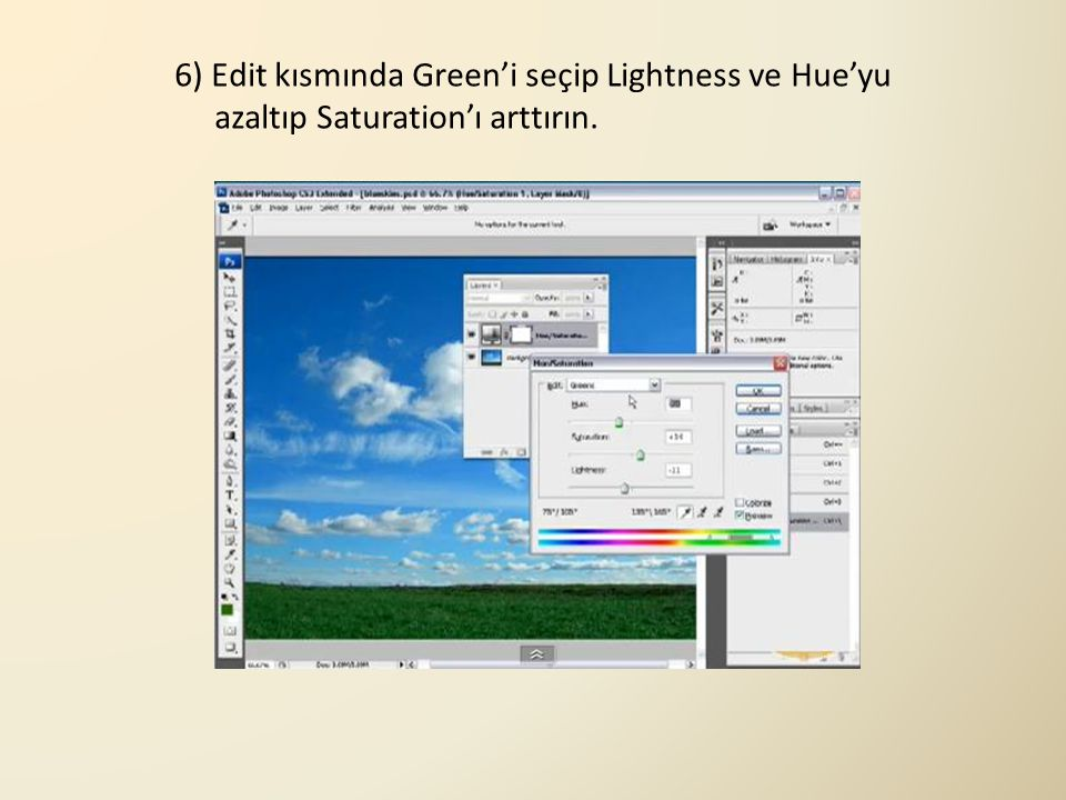 6) Edit kısmında Green'i seçip Lightness ve Hue'yu azaltıp Saturation'ı arttırın.
