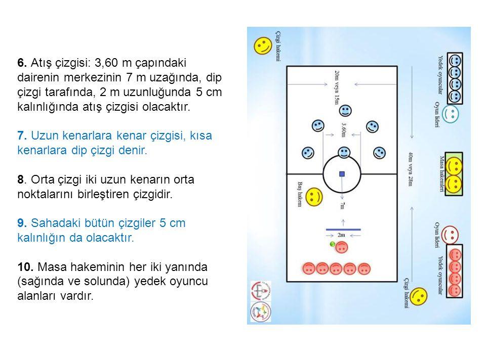 6. Atış çizgisi: 3,60 m çapındaki dairenin merkezinin 7 m uzağında, dip çizgi tarafında, 2 m uzunluğunda 5 cm kalınlığında atış çizgisi olacaktır.